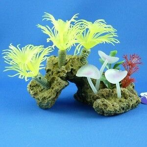 New Kazoo Yellow Soft Tree Coral with Rock Aquarium Ornament