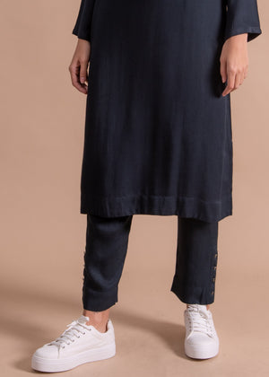 Silver Rim Button Trousers Navy