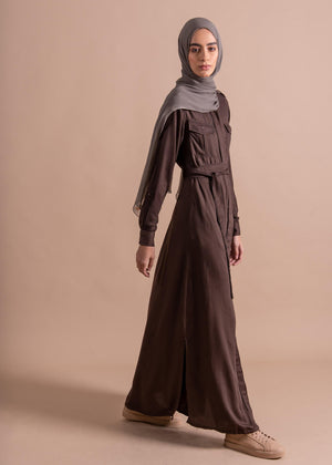 Belted Trench Dress Bark