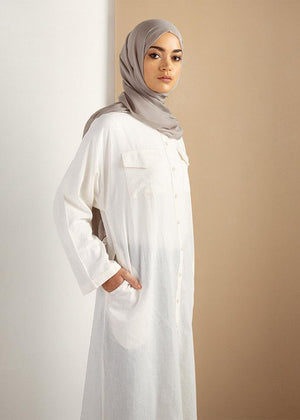 Collarless Cotton Shirt Dress  Aab
