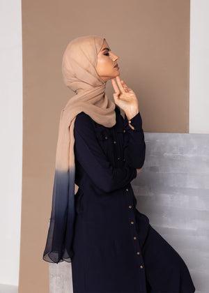Crest Button Abaya Navy