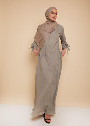 High Neck Abaya in Stone by Aab