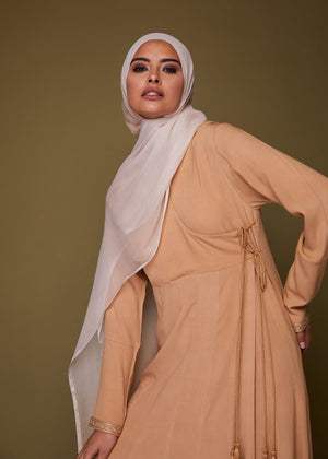 Patterned Leaf Abaya in Beige by Aab ?id=19059768295562
