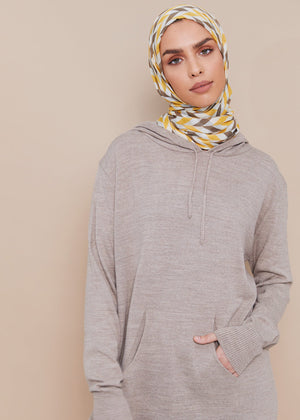 Relaxed Knit Hoody Nude
