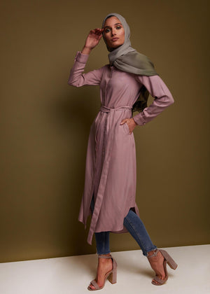 Shirt Dress in Dusty Pink by Aab