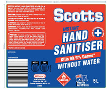 Load image into Gallery viewer, Scotts 5 Litre Hand Sanitiser - 2 Bottles per Carton Available Now! (MINIMUM ORDER 1 CARTON) SCOTTS5L004-CTN