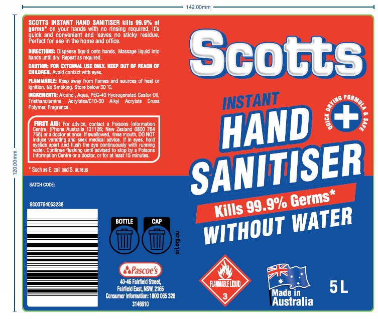 Scotts 5 Litre Hand Sanitiser - 2 Bottles per Carton Available Now! (MINIMUM ORDER 1 CARTON) SCOTTS5L004-CTN