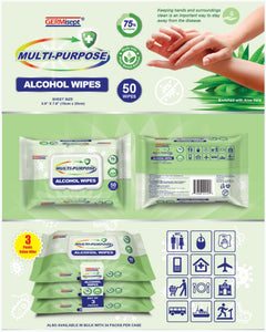 GermiSept - Multi-Purpose Wipes 50 Sheets per Pack (75% Alcohol) - 24 Packs per Carton Now Available! (MINIMUM ORDER 1 CARTON) 1001050004-CTN