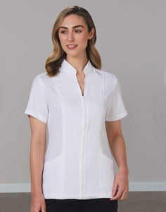 Women's Full Zip Front Short Sleeve Tunic (pack of 5) - M8636S-PK5