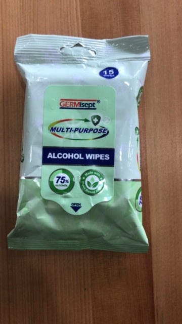 Germisept Wipes 15 Sheets per Pack (75% Alcohol) - 36 Packs per Carton Available Now! (MINIMUM ORDER 1 CARTON) GERMI-WIPES15PACK