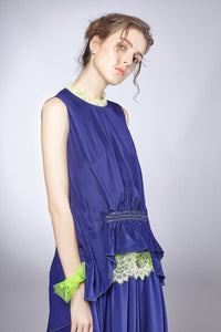 Fluorescent Lace Gather Dress