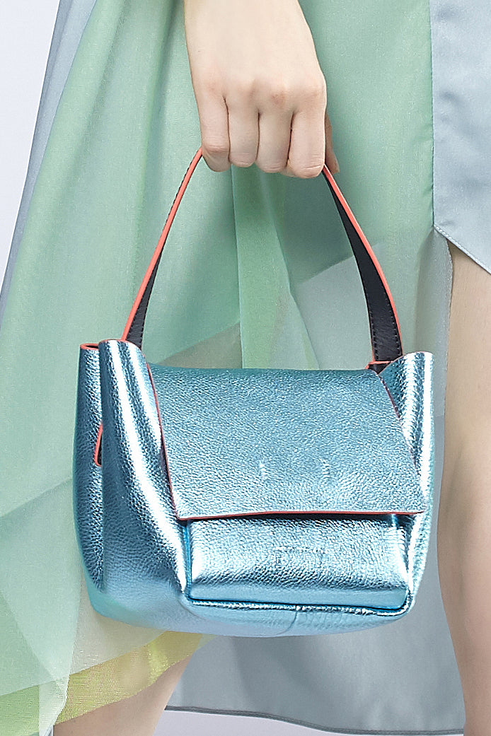 Triangular Metallic Leather HandBag