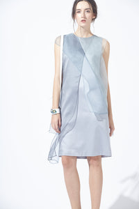 Asymmetric Over-layering Silky Dress