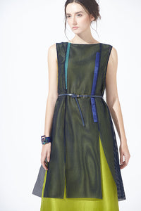 Meshy Silk Dress with Belt