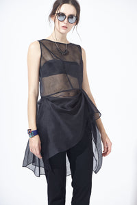 See-through Ruffle Tunic