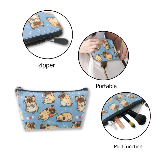 Pug Crazy Pug Pencil Case Makeup Bag