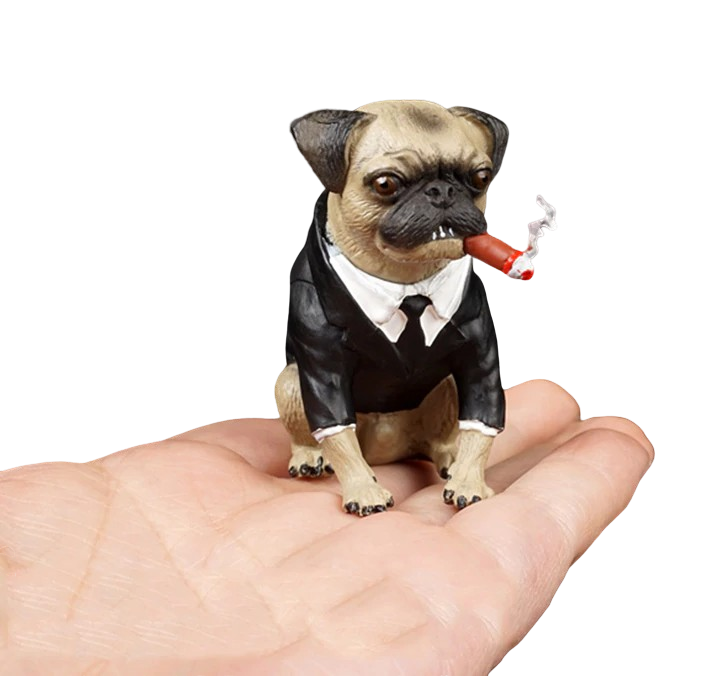 Pug Crazy Pug Mini Statue Figurine Collectible (Men In Black)