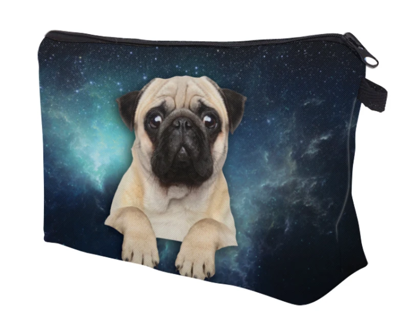 Pug Crazy Pug Pencil Case Makeup Bag (Space Pug)
