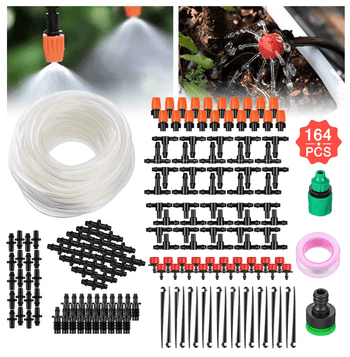 164pcs Garden Micro Drip Irrigation Automatic Watering System DIY Kit