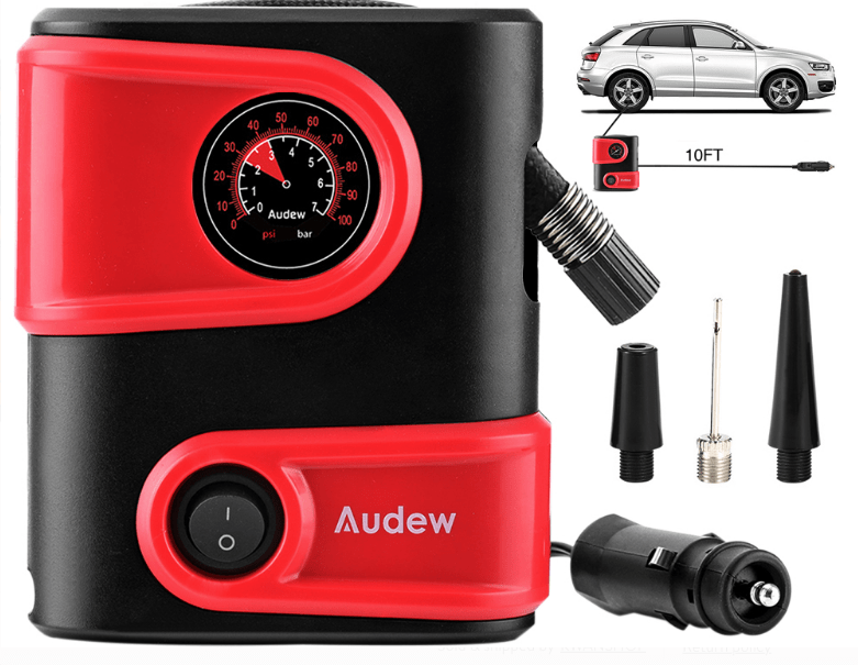 Portable Car Tire Air Pump Inflator Compressor, 12V