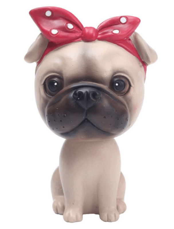 Pug Crazy™ Pug Bobblehead Figurine (Red Bow)