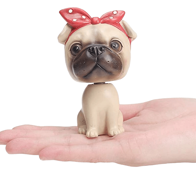 Pug Crazy Pug Bobblehead Figurine (Red Bow)