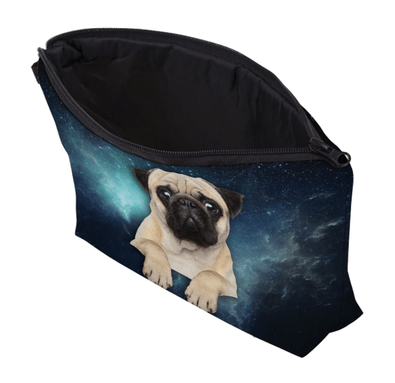 Pug Crazy Pug Pencil Case Makeup Bag (Space)
