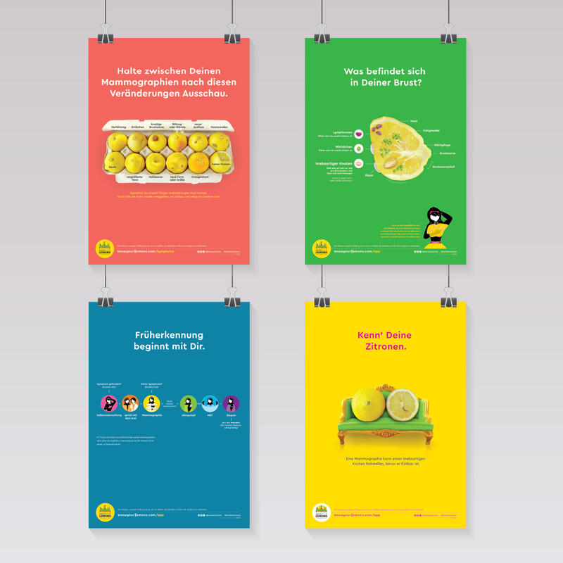 Kenn' Deine Zitronen - Poster Set - Know Your Lemons Breast Cancer Awareness