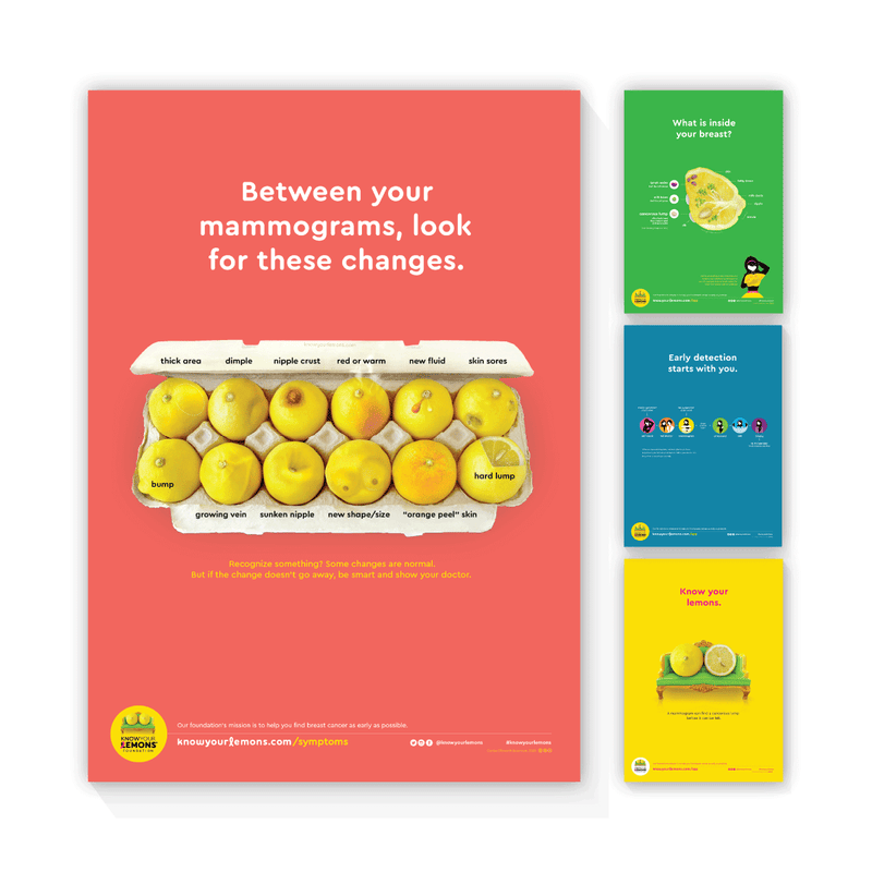 Know Your Lemons Breast Cancer Awareness Poster Bundle - Know Your Lemons Breast Cancer Awareness