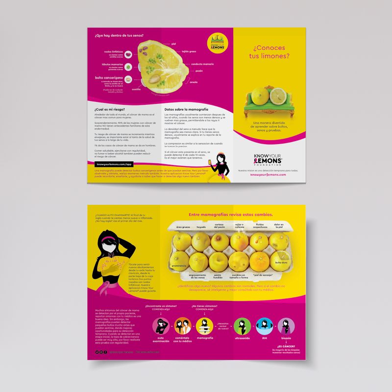 Folleto Tríptico Know Your Lemons Consciencia Sobre el Cáncer de Mama - Know Your Lemons Breast Cancer Awareness