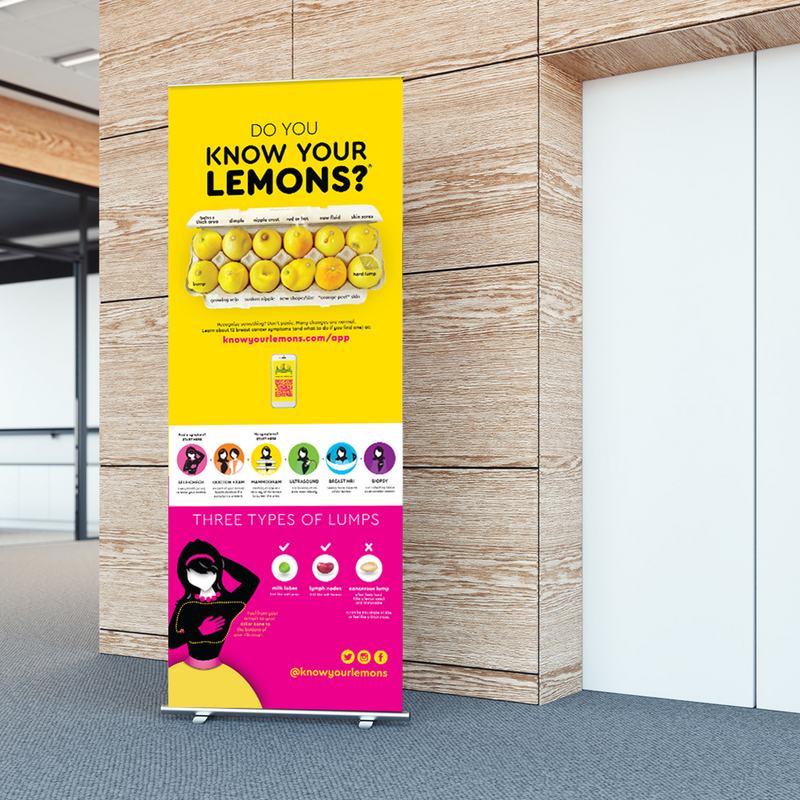 Know Your Lemons Breast Cancer Awareness Retractable Banner Stand - Know Your Lemons Breast Cancer Awareness