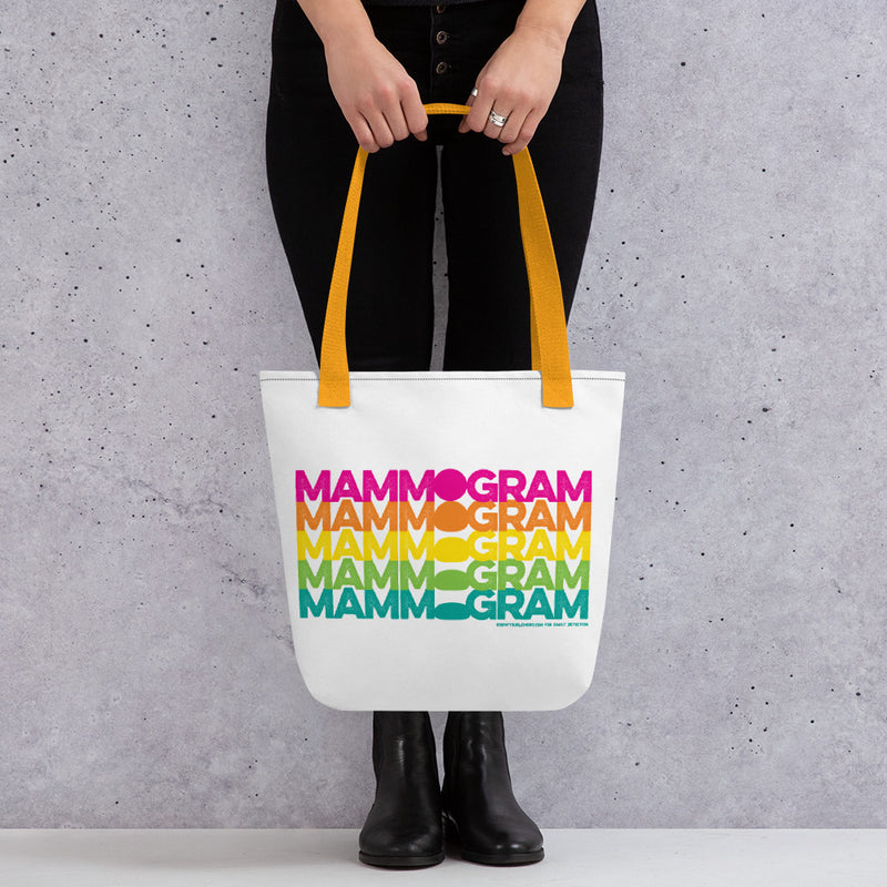 Rainbow Mammogram Tote bag (15x15 in) - Know Your Lemons Breast Cancer Awareness