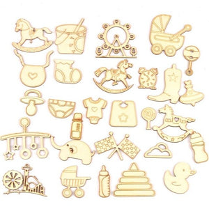 10Pcs Wood DIY Accessories Natural Wooden Baby Scrapbooking Crafts Embellishment For Home Decoration 46x50mm MT1977