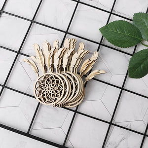 10pcs Laser Cut Wood Dreamcatcher Embellishment Wooden Shape Craft Wedding Decor