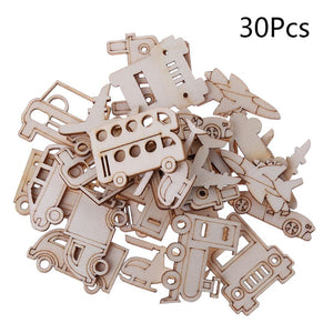 30Pcs/Bag Laser Cut Wood Embellishment Wooden Transportation Truck Car helicopter Shape Craft Wedding Decor