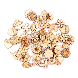 Home Decoration Handmade Accessory Scrapbooking Craft  DIY Natural Flower Leaves Pattern Wooden Embellishment 24-30mm 50pcs