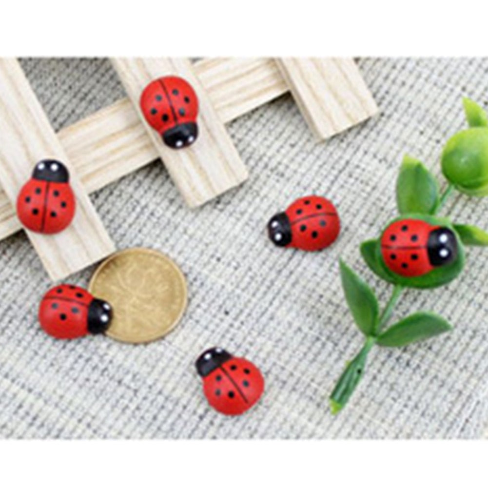 100Pcs Wall Sticker Scrapbooking Gift Animals Art Cartoon Fridge Wooden Ladybug Succulents Micro Landscape Decor Mini 3D