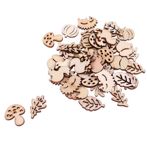 50Pcs/Pack Animal Squirrel Leaves Wooden Craft Handmade Embellishment Scrapbook Laser Cut Ornaments Handmade Wooden Piece