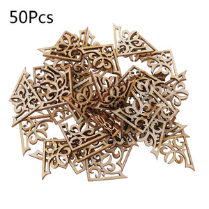 50pcs Laser Cut Wood Embellishment Wooden Shape Craft Wedding Decor For Wood DIY Handmade Craft