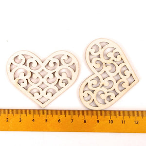 10 pcs Lovely Flower Heart Pattern Wooden Craft Handmade Scrapbooking Painting Collection Craft Hanging Ornament