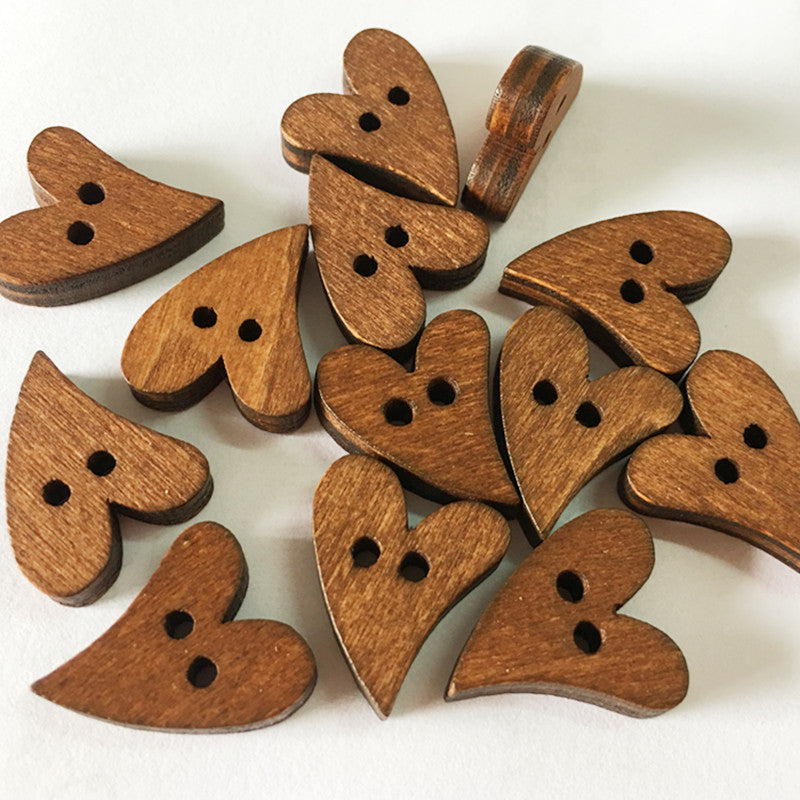 50pcs/pack Heart Shape Wooden Buttons Make Of Original Pinewood 2 Holes Sewing Wood Buttons For Arts Crafts & Decorations