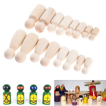 Charger l'image dans la galerie, 16 PcsSolid Hard Wood People Different Size Natural Unfinished Ramp Preparation Paint or Stained Wooden Family Wood Peg Dolls
