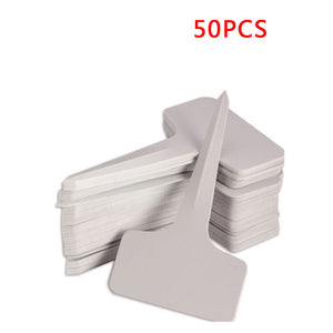 50pcs 6x10cm White Plastic PVC Plant T-type Tags Markers Nursery Garden Labels Nursery Pots Garden Decoration Seedling Tray