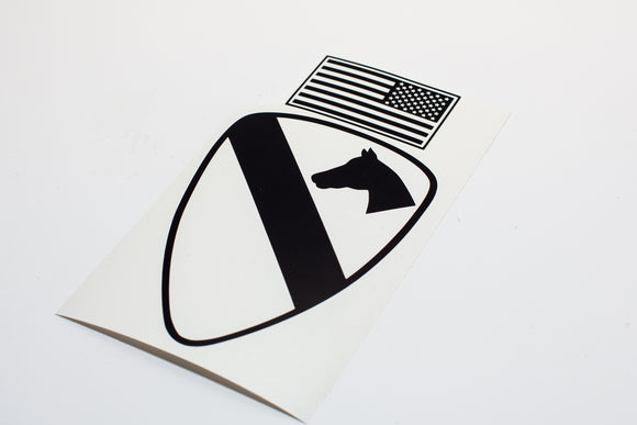 1st Cavalry Combat Patch with Flag Vinyl Decal