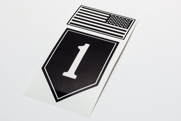 1st Infantry Combat Patch with Flag Vinyl Decal
