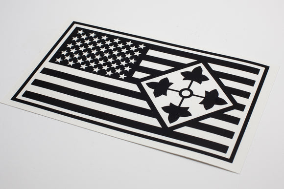 4th Infantry with Flag Vinyl Decal