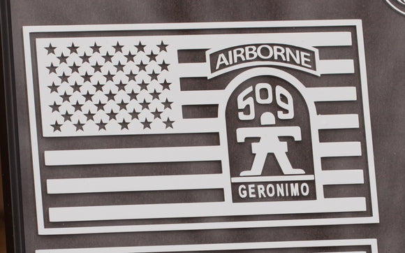 509th Infantry Geronimo in US Flag Vinyl Decal