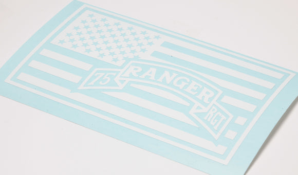75th Ranger in US Flag Vinyl Decal