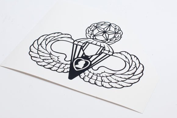 Airborne Master, Senior, or Basic with Purple Heart vinyl decal