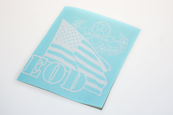 Explosive Ordnance Disposal badge and US Flag Vinyl Decal